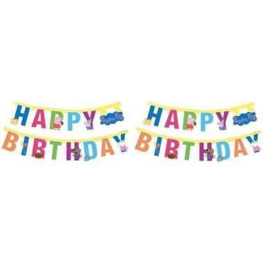 2x peppa pig kinderfeestje letterslinger/wenslijn 140 cm prijs