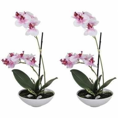 2x phalaenopsis kunst plant in pot 25 cm roze prijs