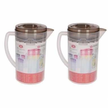 2x plastic limonade kannen transparant 2 liter prijs