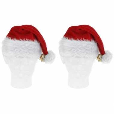 2x pluche kerstmutsen met bel deluxe prijs