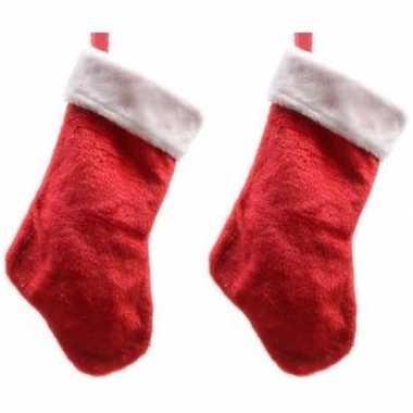 2x pluche kerstsokken 40 cm rood/wit prijs