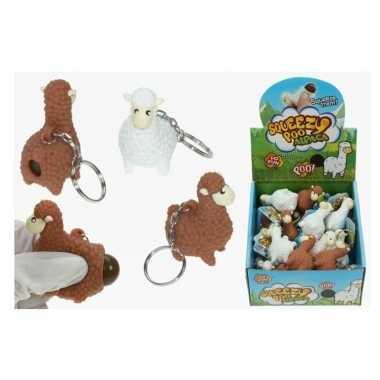2x poepende lama/alpaca sleutelhanger wit 9 cm prijs