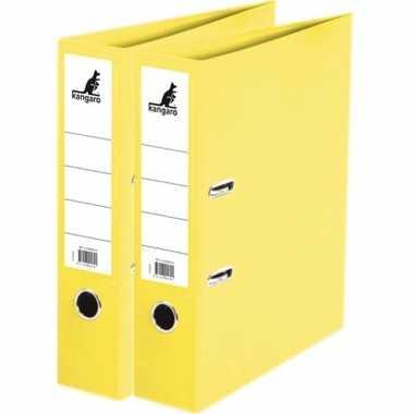 2x ringmappen/ordners geel a4 75 mm prijs