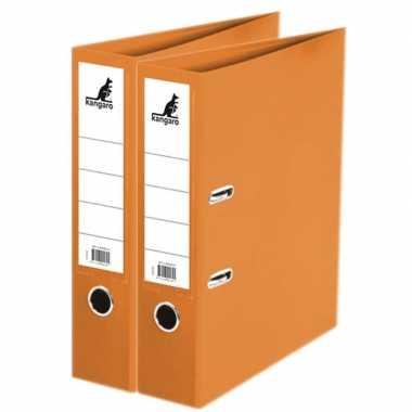 2x ringmappen/ordners oranje a4 75 mm prijs