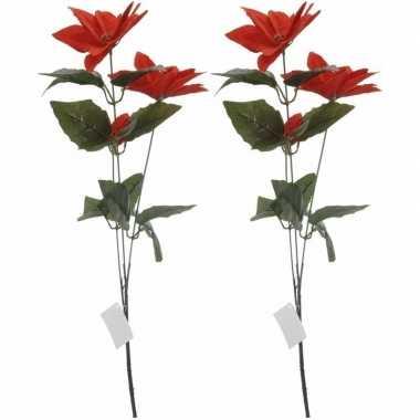 2x rode kerstbloem 66 cm prijs