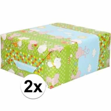 2x rol kinder inpakpapier met muizen print 200 x 70 cm prijs