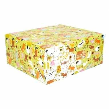 2x rol kinderverjaardag inpakpapier met boerderij dieren 200 x 70 cm