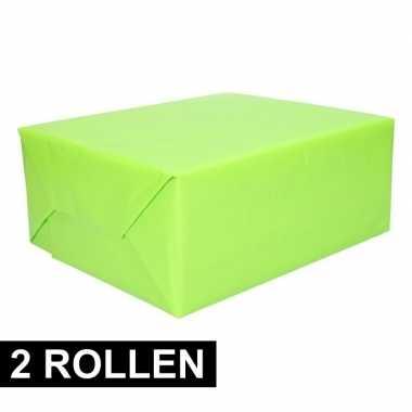 2x rollen cadeaupapier lime groen 200 cm prijs
