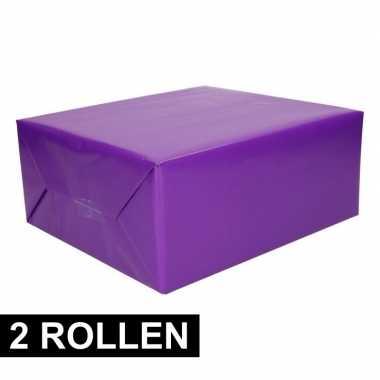 2x rollen cadeaupapier paars 200 cm prijs