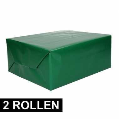 2x rollen kadopapier groene 70 x 200 cm prijs