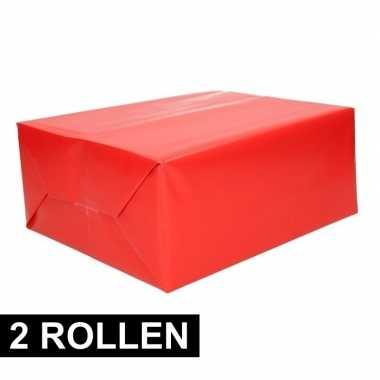 2x rollen kadopapier rode 70 x 200 cm prijs