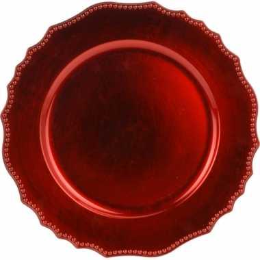 2x ronde rode onderborden 33 cm voor een diner prijs