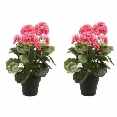 2x roze kunstplanten geranium plant in pot prijs