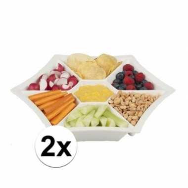 2x snackschalen porselein 32 x 5 cm zeshoek prijs