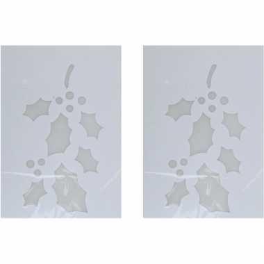 2x sneeuwspray kerst raamsjablonen hulsttak plaatjes 35 cm prijs