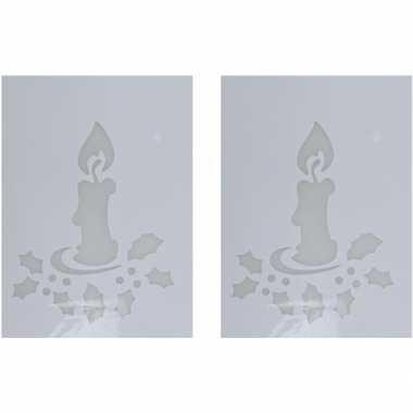 2x sneeuwspray kerst raamsjablonen kaarsen plaatjes 35 cm prijs