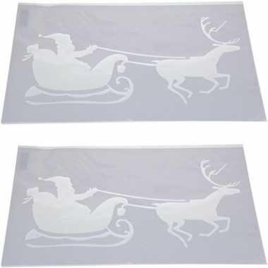 2x sneeuwspray kerst raamsjablonen kerstman in slee plaatjes 54 cm pr