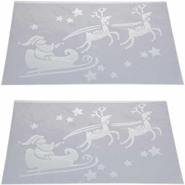 2x sneeuwspray kerst raamsjablonen kerstman in vliegende slee plaatje