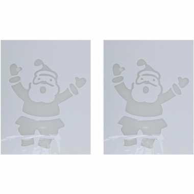 2x sneeuwspray kerst raamsjablonen kerstmannen plaatjes 35 cm prijs