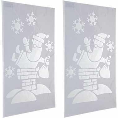 2x sneeuwspray kerst raamsjablonen kerstmannen plaatjes 54 cm prijs