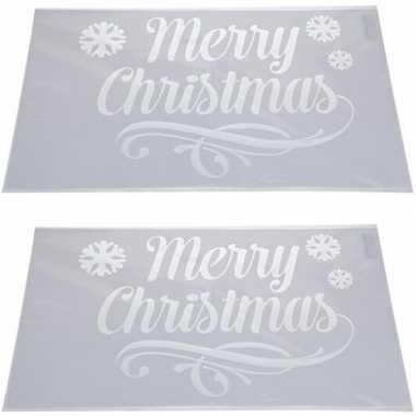 2x sneeuwspray kerst raamsjablonen merry christmas plaatjes 54 cm pri