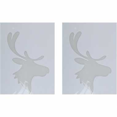 2x sneeuwspray kerst raamsjablonen rendierkop plaatjes 35 cm prijs