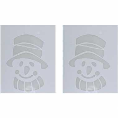 2x sneeuwspray kerst raamsjablonen sneeuwpoppen plaatjes 35 cm prijs
