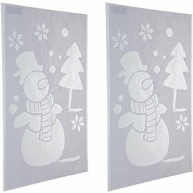 2x sneeuwspray kerst raamsjablonen sneeuwpoppen plaatjes 54 cm prijs