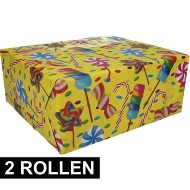 2x snoepjes motief cadeaupapier 70 x 200 cm prijs