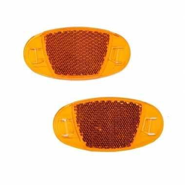 2x spaakreflectoren / fiets reflectoren oranje prijs