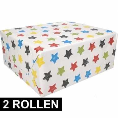 2x sterren motief cadeaupapier 70 x 200 cm prijs