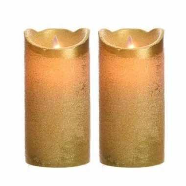2x stuks gouden nep kaarsen met led-licht 15 cm prijs