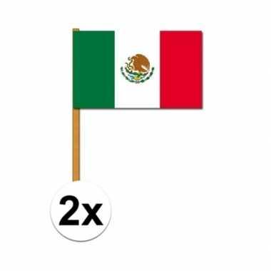 2x stuks mexico zwaaivlaggetjes prijs