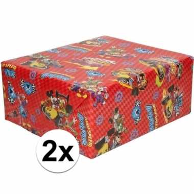 2x verjaardag kadopapier disney mickey mouse racewagen 200 x 70 cm pr
