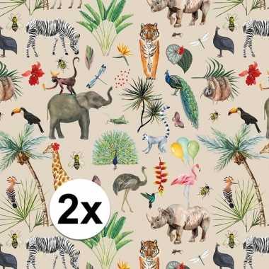 2x verjaardag kadopapier taupe jungle 200 x 70 cm voor kinderen prijs