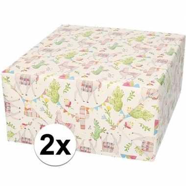2x verjaardagscadeau inpakpapier lama/alpaca 70 x 200 cm prijs