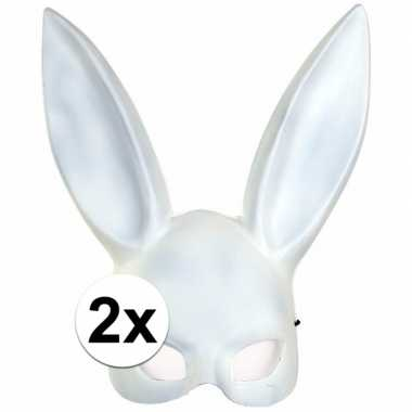 2x verkleed wit konijntje/haasje gezichtsmasker voor volwassenen prij