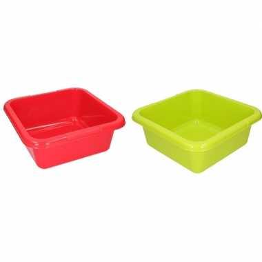 2x vierkante afwasbak rood en groen 15 l prijs
