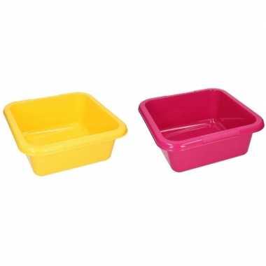 2x vierkante afwasbak roze / geel 15 l prijs