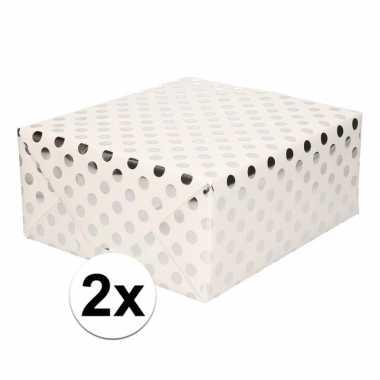 2x wit folie geschenkpapier zilveren stip 200 x 70 cm prijs