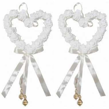 2x witte decoratie rozen harten prijs