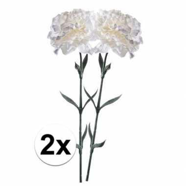 2x witte dianthus kunstbloem 65 cm prijs