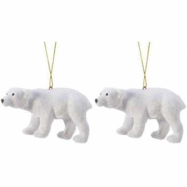 2x witte ijsberen kerstornamenten kersthangers 10 cm prijs