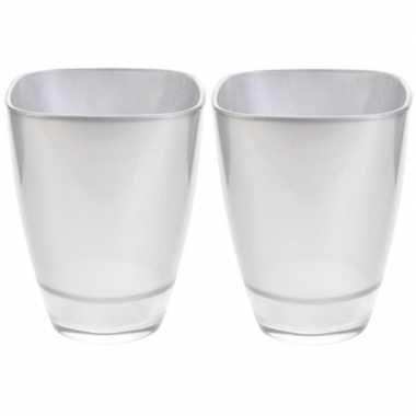 2x zilveren glazen vierkante bloemenvaas/bloempot 17 cm prijs