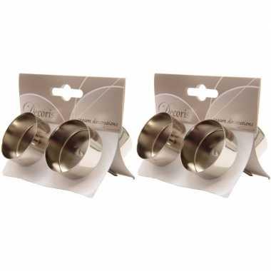 2x zilveren waxinelichthouders 4 stuks prijs