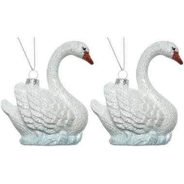 2x zwaan kerstornamenten kersthangers 10 cm prijs
