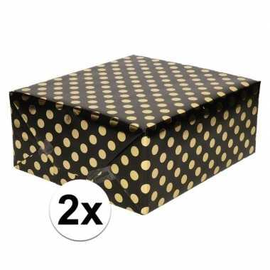 2x zwart folie geschenkpapier gouden stip 200 x 70 cm prijs