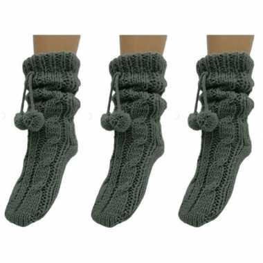 3 paar dames sokken voor in huis grijs prijs