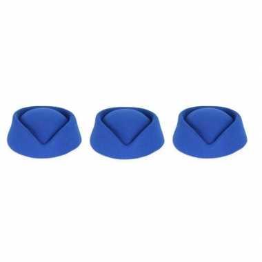 3 stuks blauw stewardessen hoedjes voor dames prijs