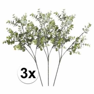 3 x kunstbloemen tak groen/grijs eucalyptus 65 cm prijs
